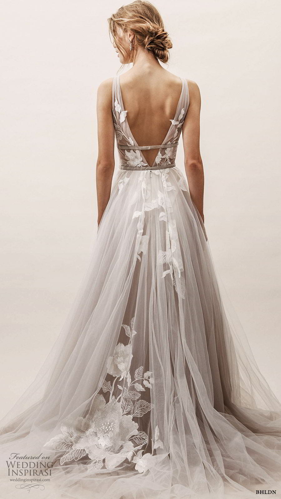 bhldn spring 2019 bridal sleeveless thick straps v neckline embellished bodice a line ball gown wedding dress sweep train silver color low vback romantic (18) bv