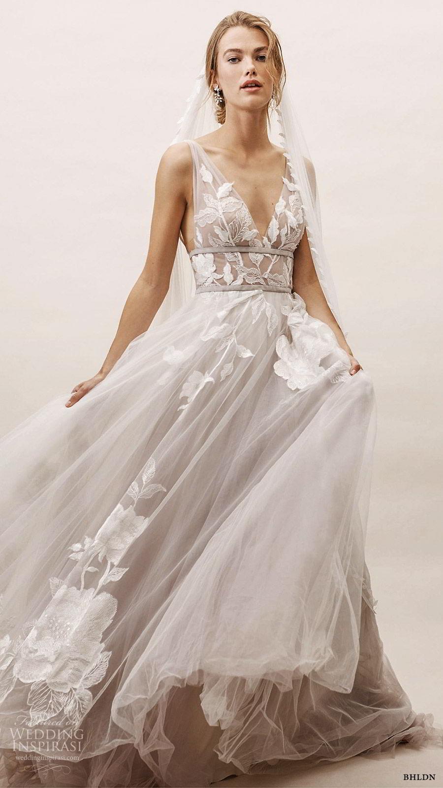 bhldn spring 2019 bridal sleeveless thick straps v neckline embellished bodice a line ball gown wedding dress sweep train silver color low vback romantic (18) mv