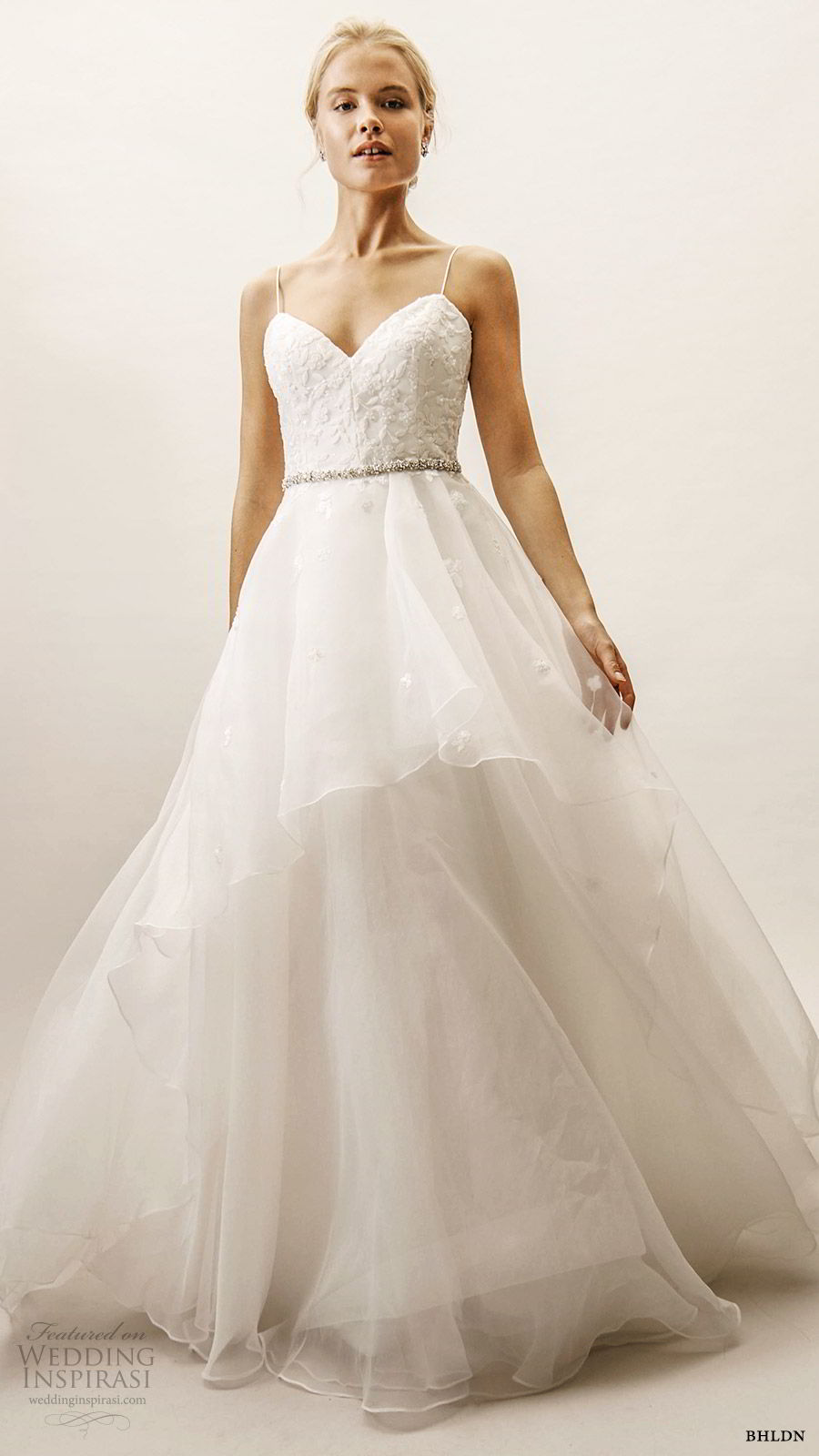 bhldn spring 2019 bridal sleeveless thin straps sweetheart neckline lace bodice a line ball gown wedding dress tiered skirt (6)