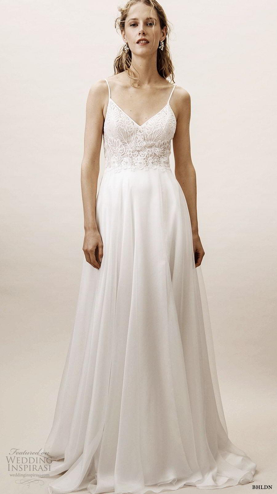 bhldn spring 2019 bridal sleeveless thin straps sweetheart v neckline embellished bodice a line wedding dress elegant romantic scoop back (4) mv