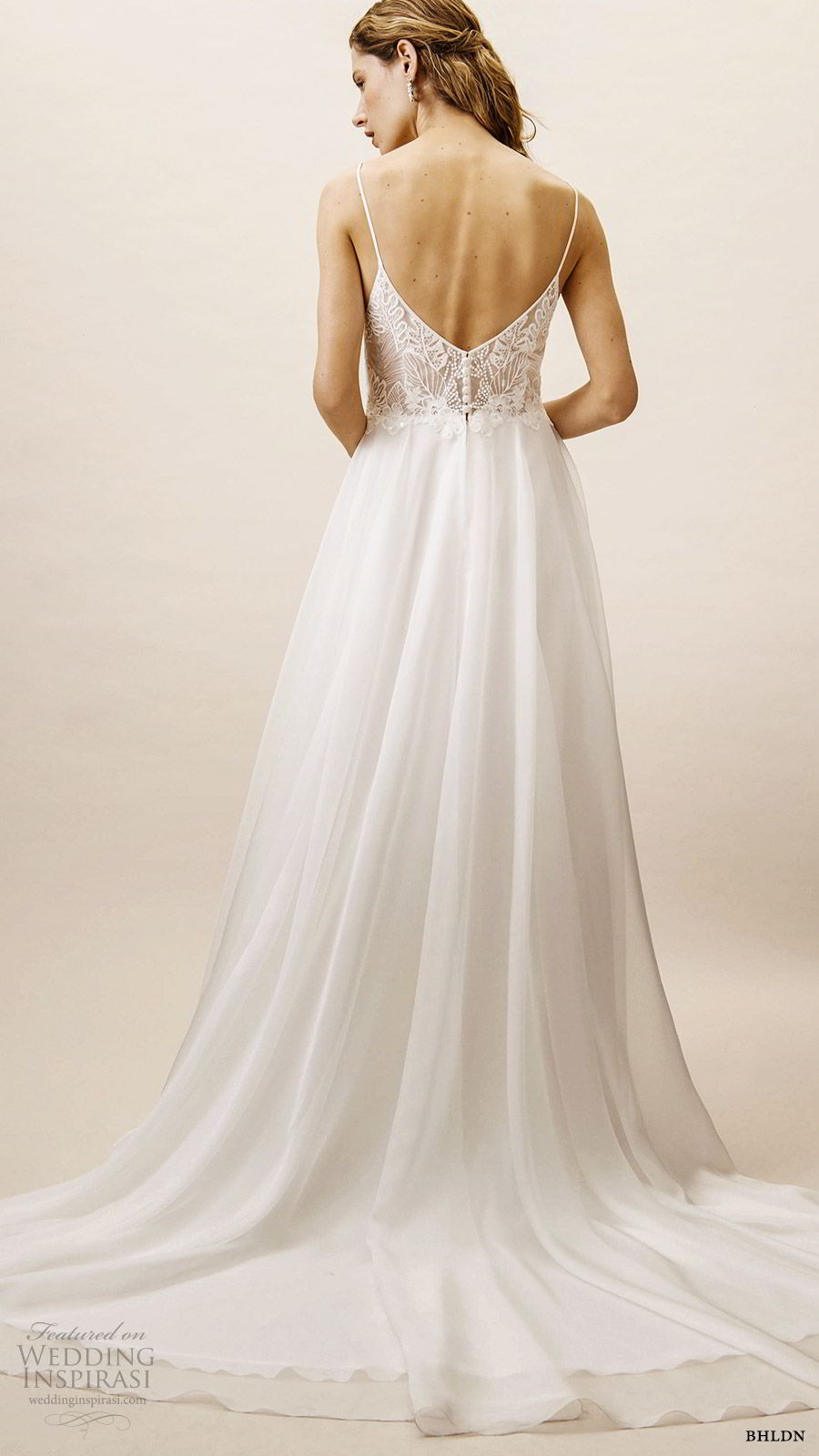bhldn spring 2019 bridal sleeveless thin straps sweetheart v neckline embellished bodice a line wedding dress scoop back chapel train (4) bv