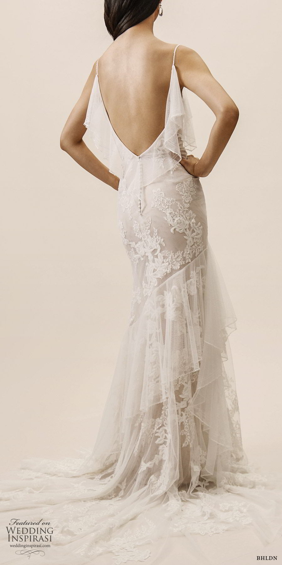 bhldn spring 2019 bridal sleeveless thin straps v neckline sheath lace wedding dress ruffle skirt low back chapel train romantic (11) bv