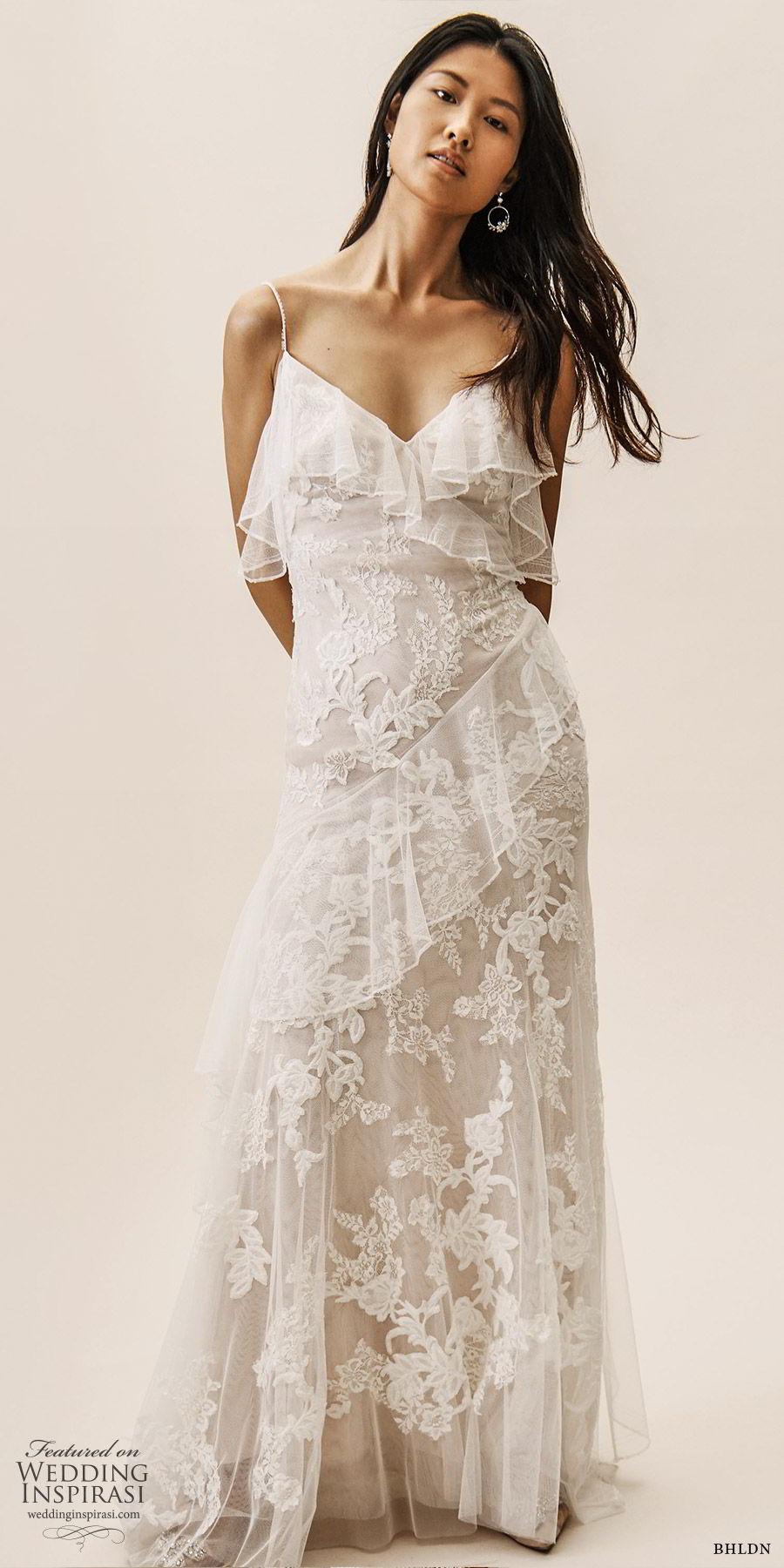bhldn spring 2019 bridal sleeveless thin straps v neckline sheath lace wedding dress ruffle skirt low back chapel train romantic (11) mv
