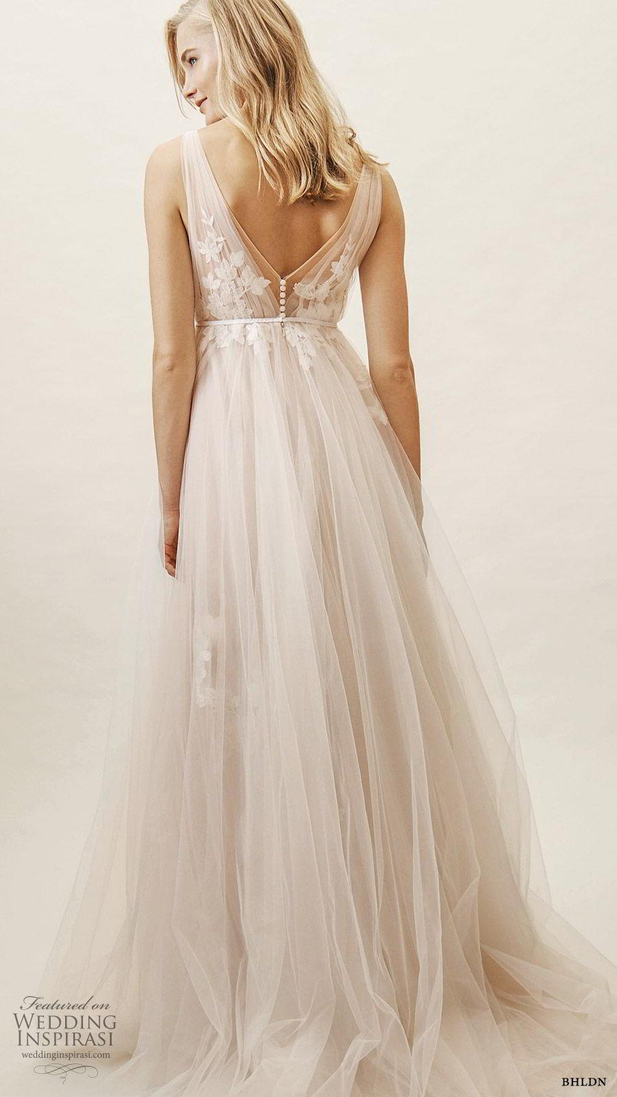 bhldn spring 2019 bridal sleeveless v neckline ruched bodice a line ball gown lace embellished wedding dress blush color (13) bv
