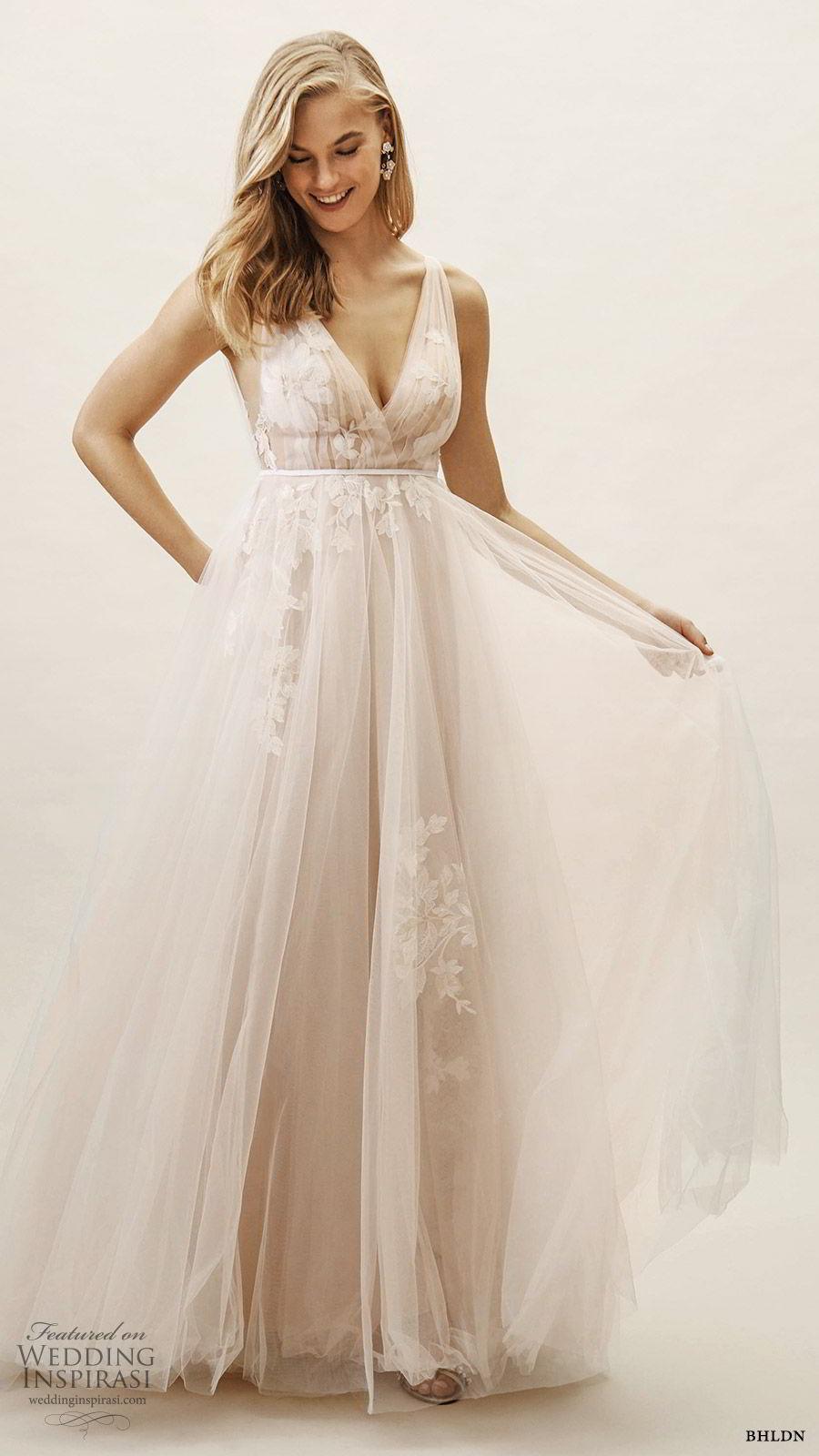 bhldn spring 2019 bridal sleeveless v neckline ruched bodice a line ball gown lace embellished wedding dress blush color (13) mv