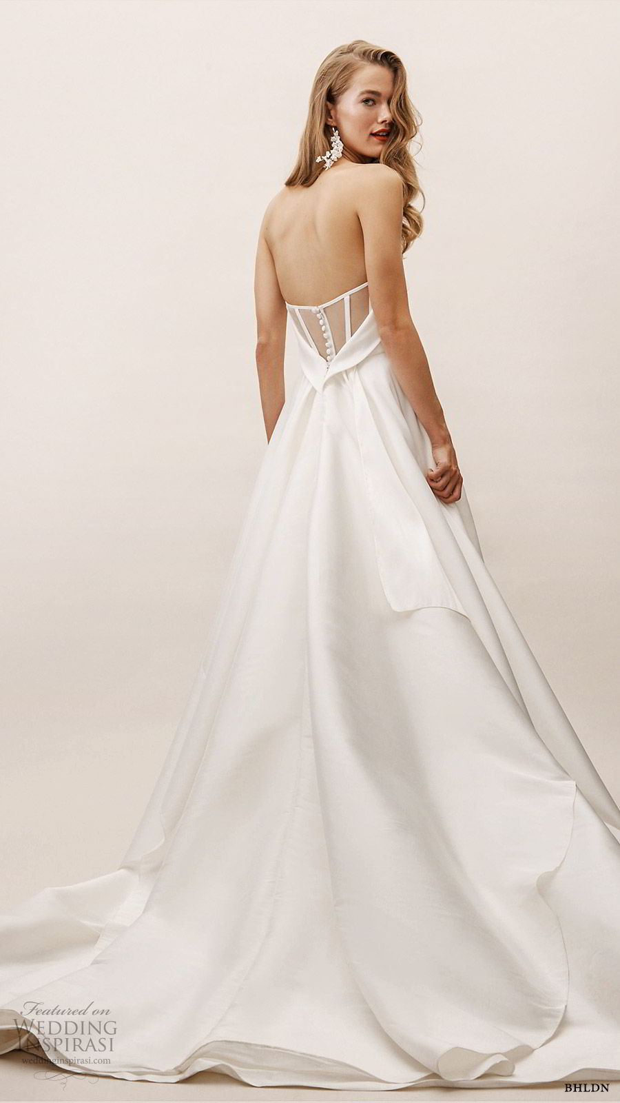 bhldn spring 2019 bridal strapless straight across a line ball gown wedding dress illusion back clean romantic sweep train (17) bv