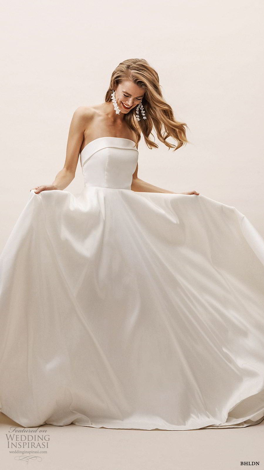 bhldn spring 2019 bridal strapless straight across a line ball gown wedding dress illusion back clean romantic sweep train (17) mv