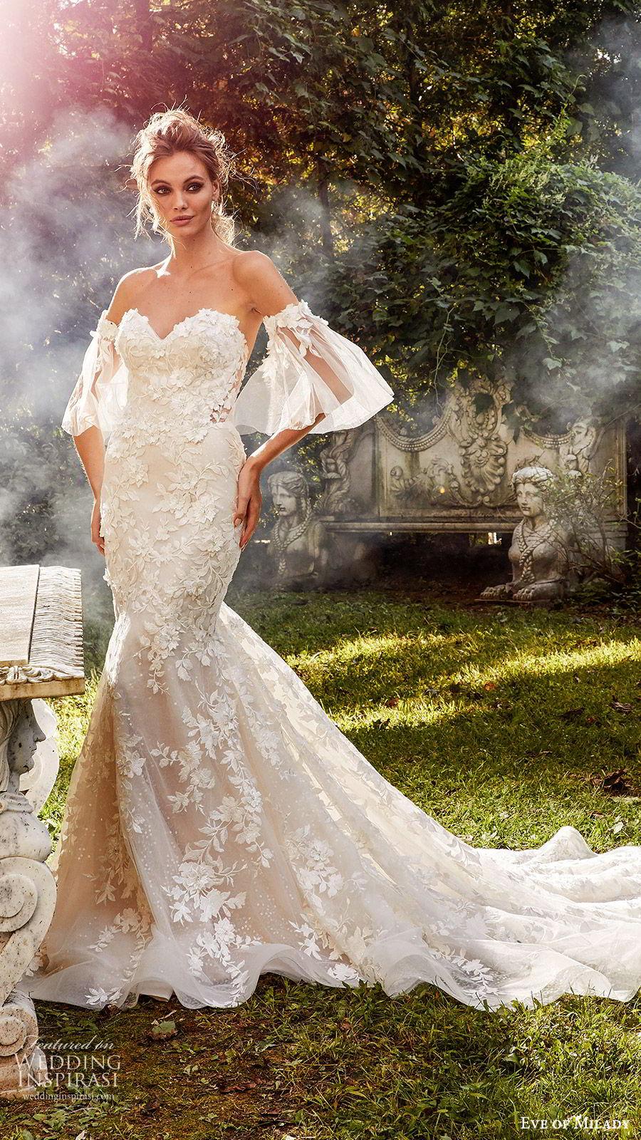 eve of milady fall 2018 bridal detached bell sleeves strapless sweetheart fully embellished mermaid wedding dress chapel train elegant romantic (1) mv