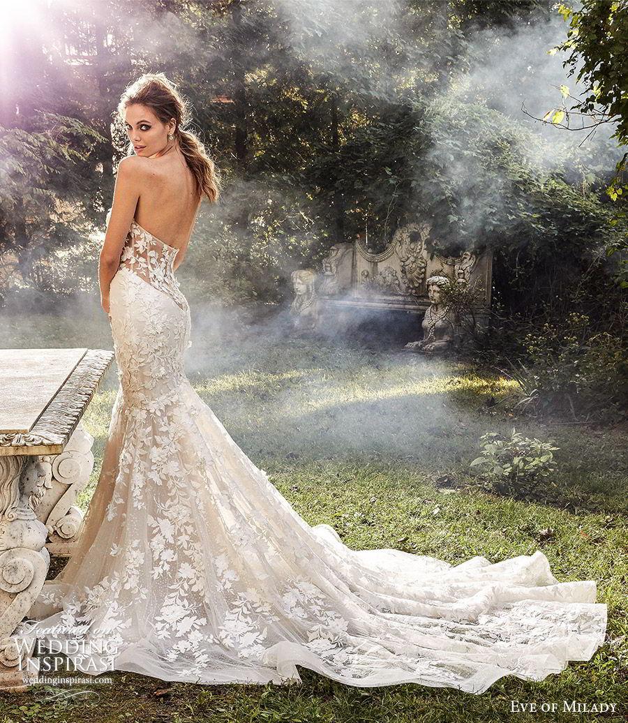 eve of milady fall 2018 bridal detached bell sleeves strapless sweetheart fully embellished mermaid wedding dress sheer back chapel train elegant romantic (1) bv