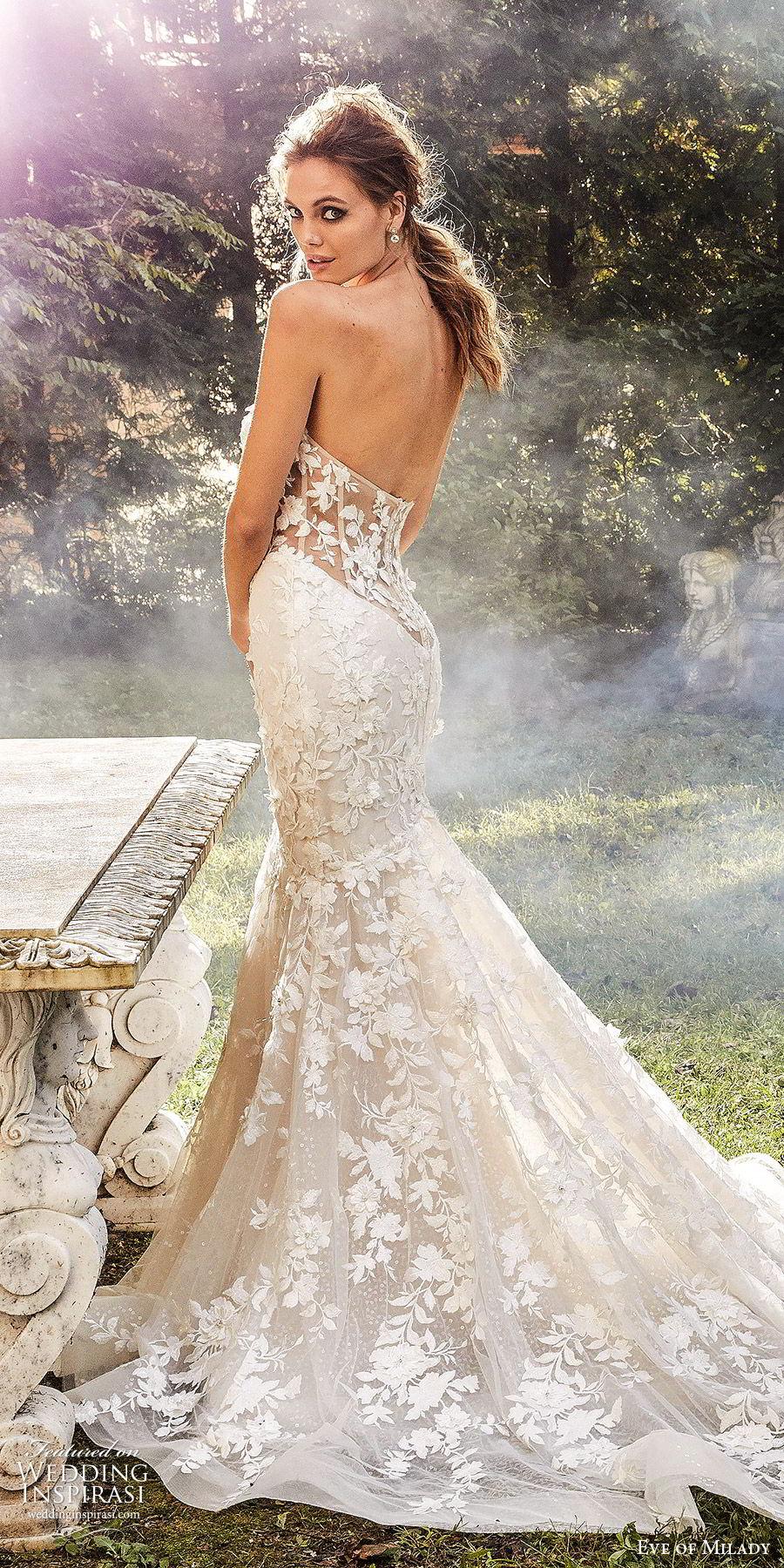eve of milady fall 2018 bridal detached bell sleeves strapless sweetheart fully embellished mermaid wedding dress sheer back chapel train elegant romantic (1) lv