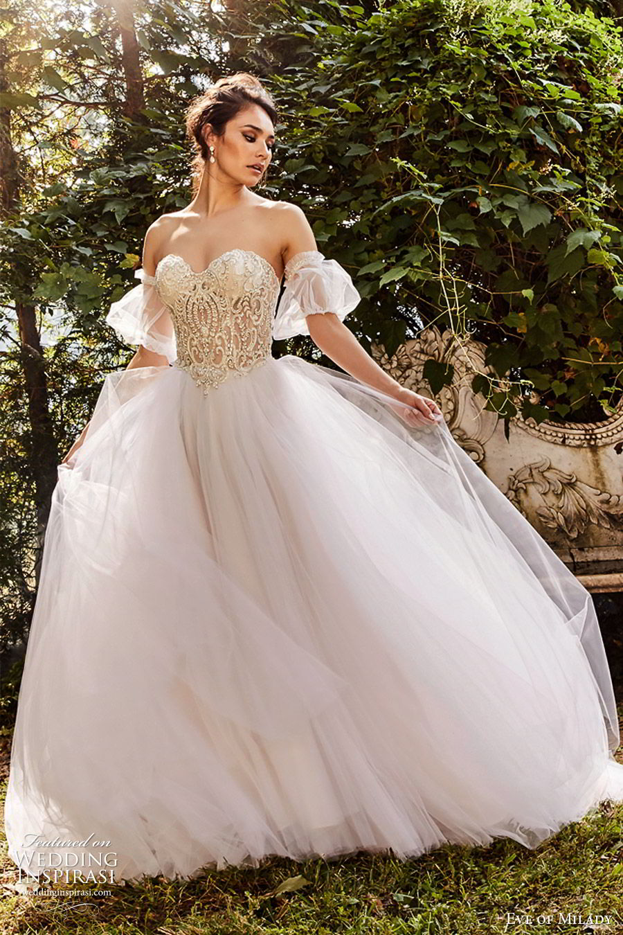eve of milady fall 2018 bridal detached puff sleeves strapless sweetheart embellished bodice ball gown wedding dress romantic princess blush color (4) mv