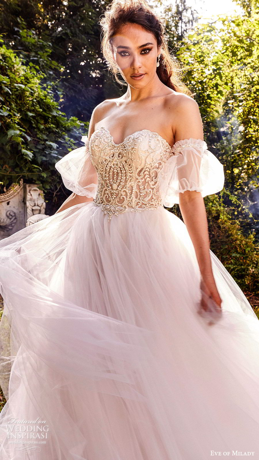 eve of milady fall 2018 bridal detached puff sleeves strapless sweetheart embellished bodice ball gown wedding dress romantic princess blush color (4) zv