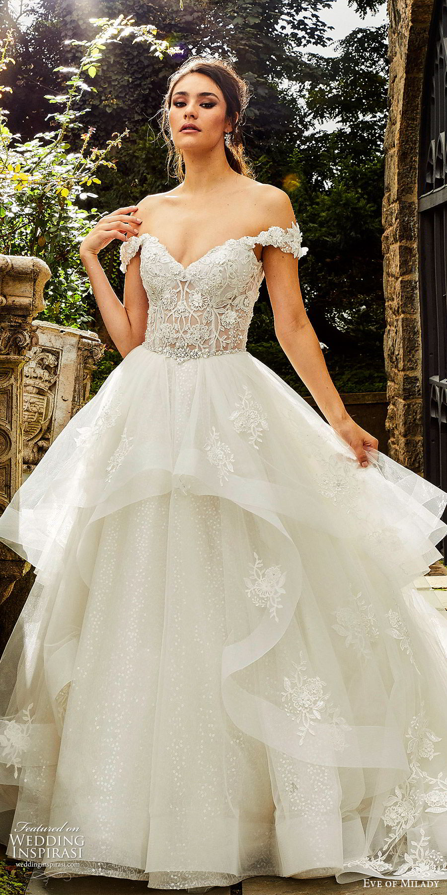 eve of milady fall 2018 bridal off shoulder sweetheart embellished bodice ball gown wedding dress tiered skirt cathedral train romantic princess (5) lv