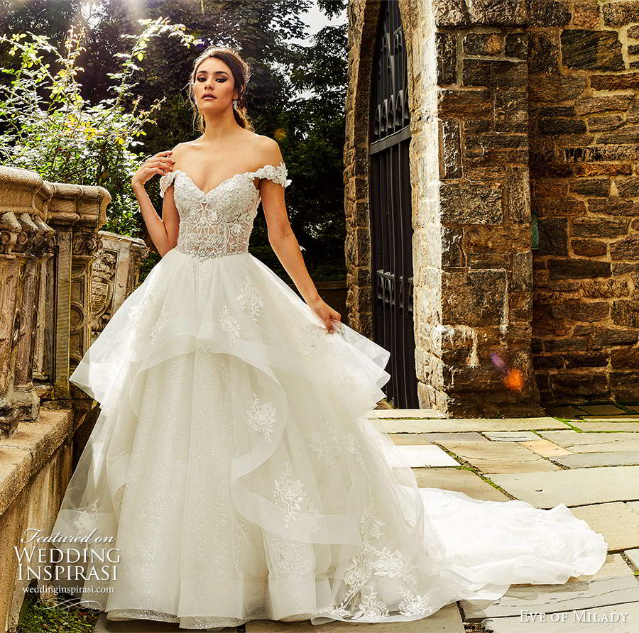 eve of milady fall 2018 bridal off shoulder sweetheart embellished bodice ball gown wedding dress tiered skirt cathedral train romantic princess (5) mv