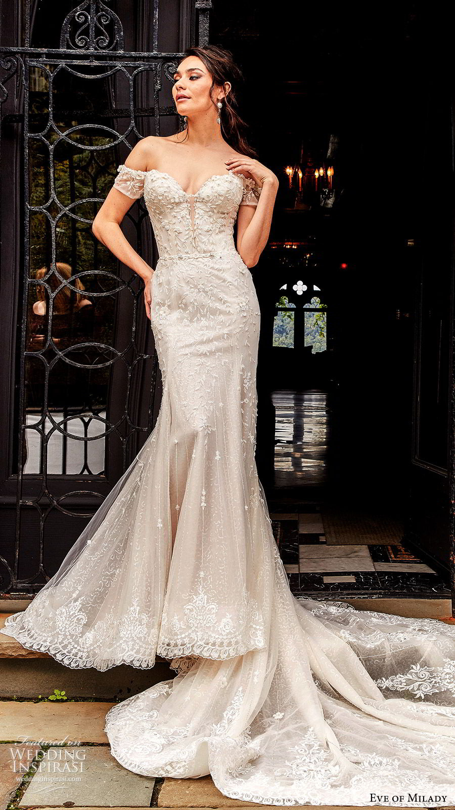eve of milady fall 2018 bridal off shoulder sweetheart neckline fully embellished fit flare trumpet mermaid wedding dress cathedral train elegant glam (7) mv
