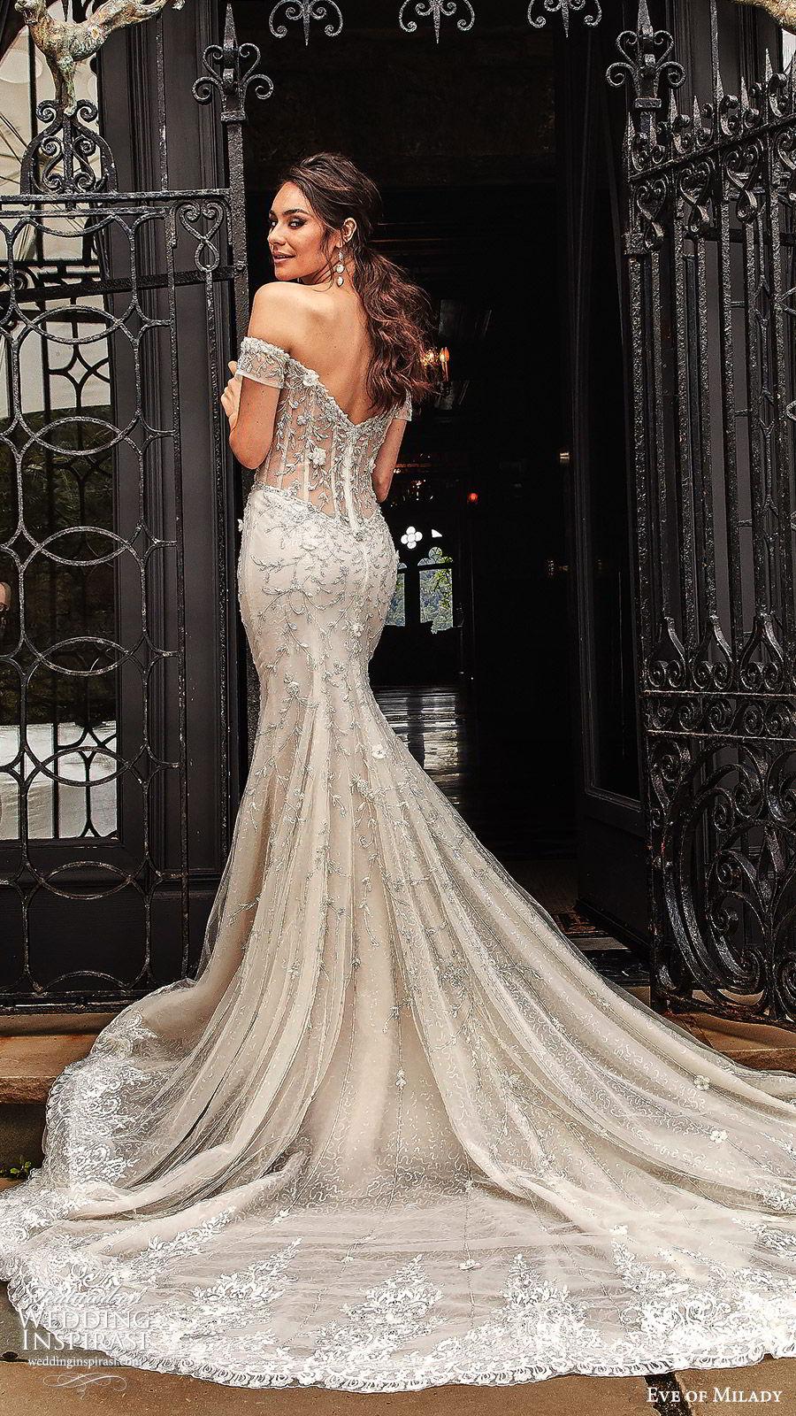 eve of milady fall 2018 bridal off shoulder sweetheart neckline fully embellished fit flare trumpet mermaid wedding dress cathedral train sheer back elegant glam (7) mv