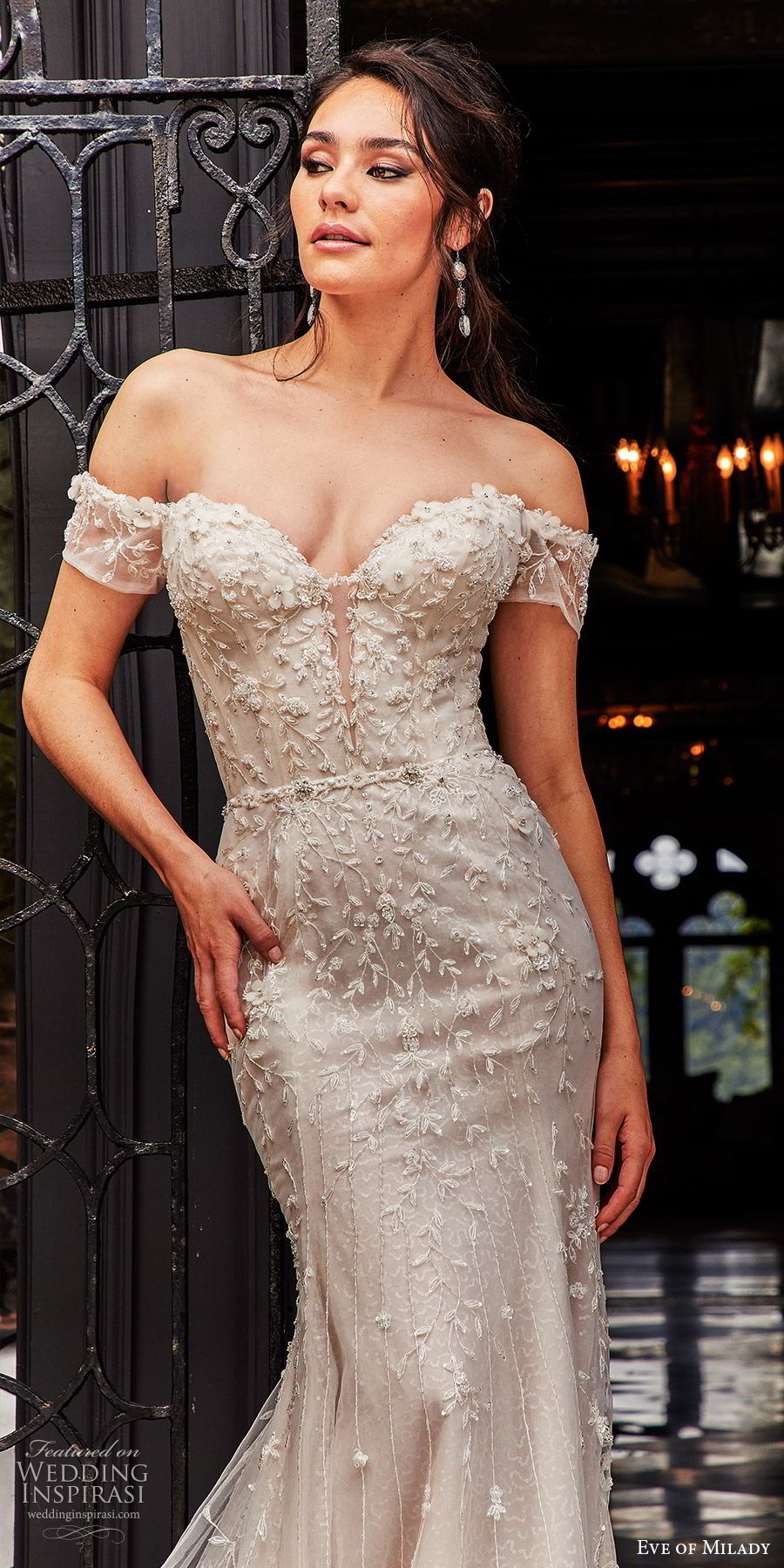 eve of milady fall 2018 bridal off shoulder sweetheart neckline fully embellished fit flare trumpet mermaid wedding dress cathedral train sheer back elegant glam (7) zv