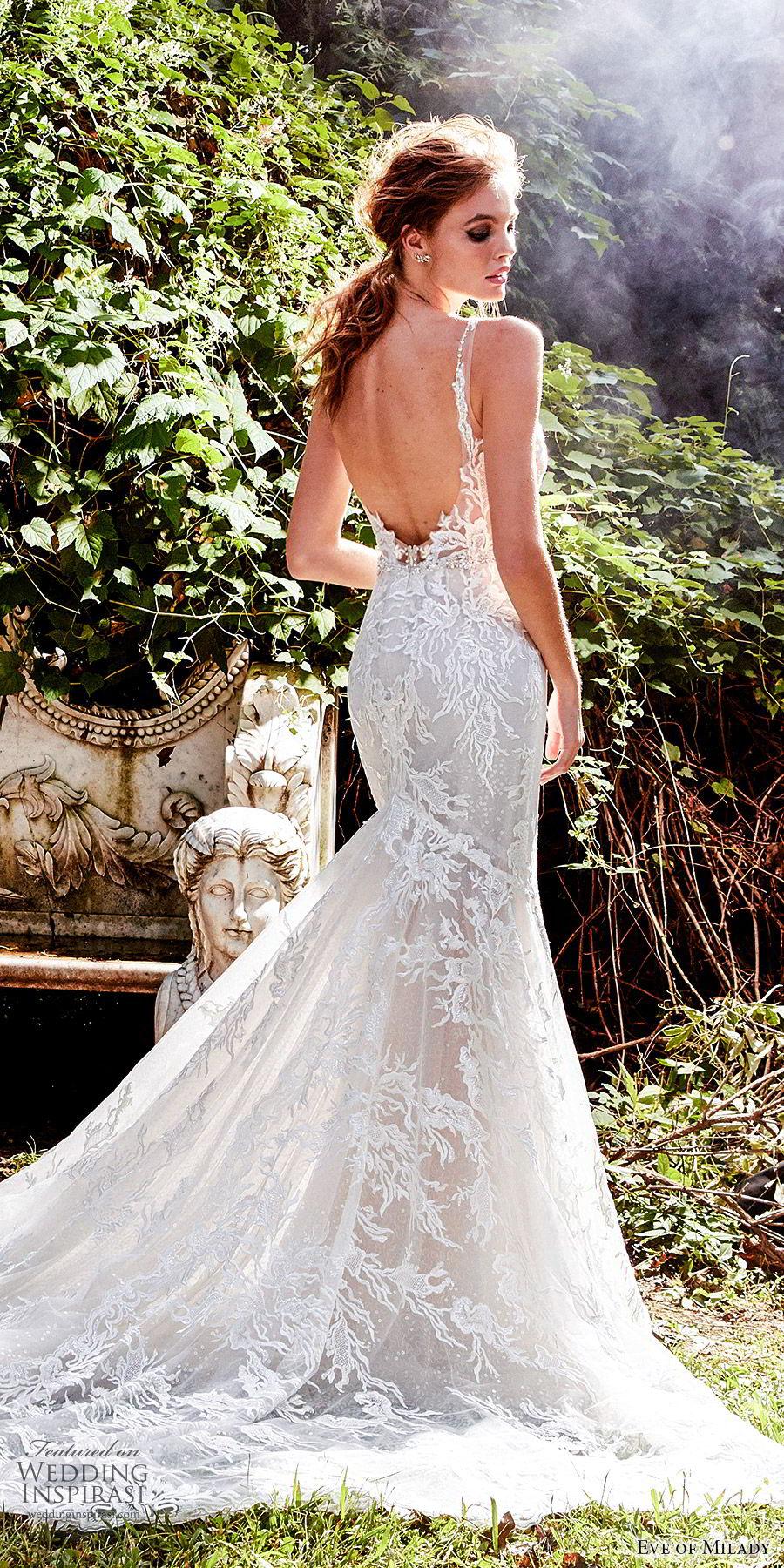 eve of milady fall 2018 bridal sleeveless plunging v neckline fully embellished sheath trumpet mermaid lace wedding dress chapel train elegant romantic (8) bv