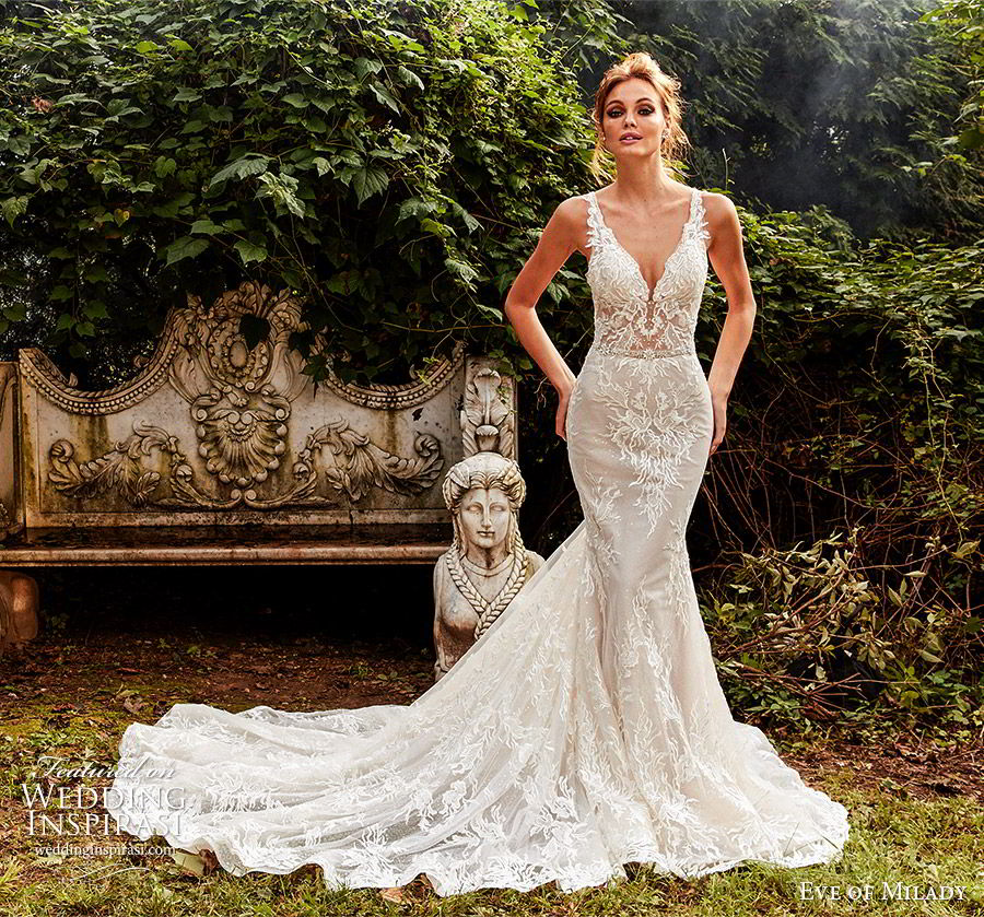 eve of milady fall 2018 bridal sleeveless plunging v neckline fully embellished sheath trumpet mermaid lace wedding dress chapel train elegant romantic (8) mv
