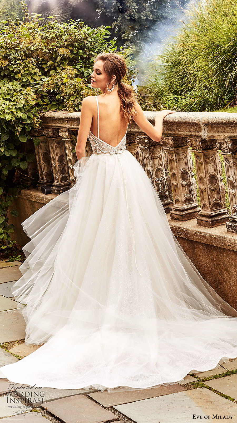 eve of milady fall 2018 bridal sleeveless thick straps deep v neck embellished bodice ball gown wedding dress chapel train romantic princess (2) bv