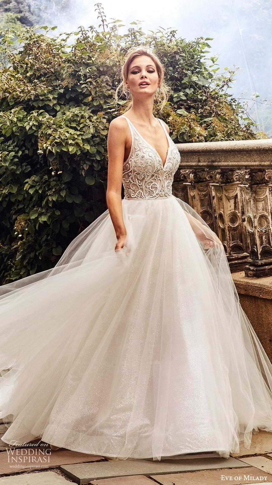 eve of milady fall 2018 bridal sleeveless thick straps deep v neck embellished bodice ball gown wedding dress chapel train romantic princess (2) mv