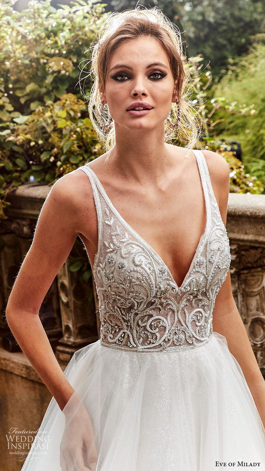 eve of milady fall 2018 bridal sleeveless thick straps deep v neck embellished bodice ball gown wedding dress chapel train romantic princess (2) zv