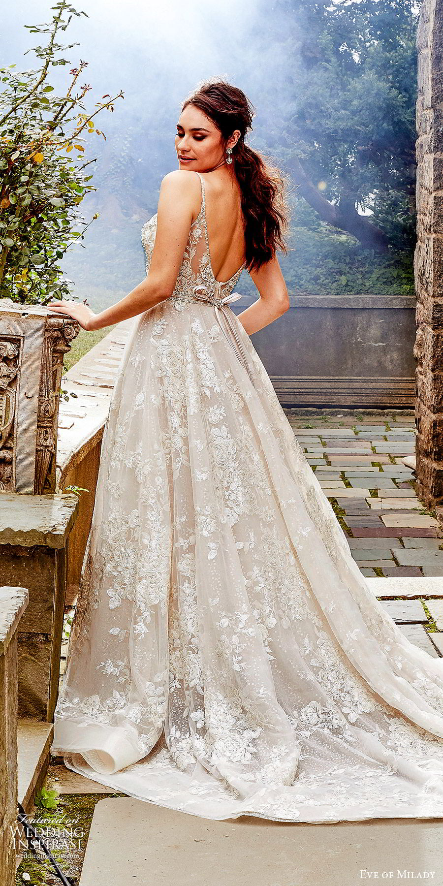 eve of milady fall 2018 bridal sleeveless thin beaded straps fully embellished a line ball gown wedding dress romantic glitzy chapel train (6) bv