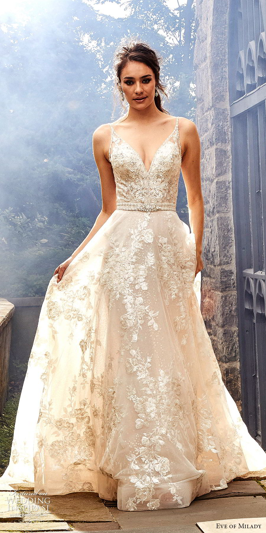 eve of milady fall 2018 bridal sleeveless thin beaded straps fully embellished a line ball gown wedding dress romantic glitzy chapel train (6) lv