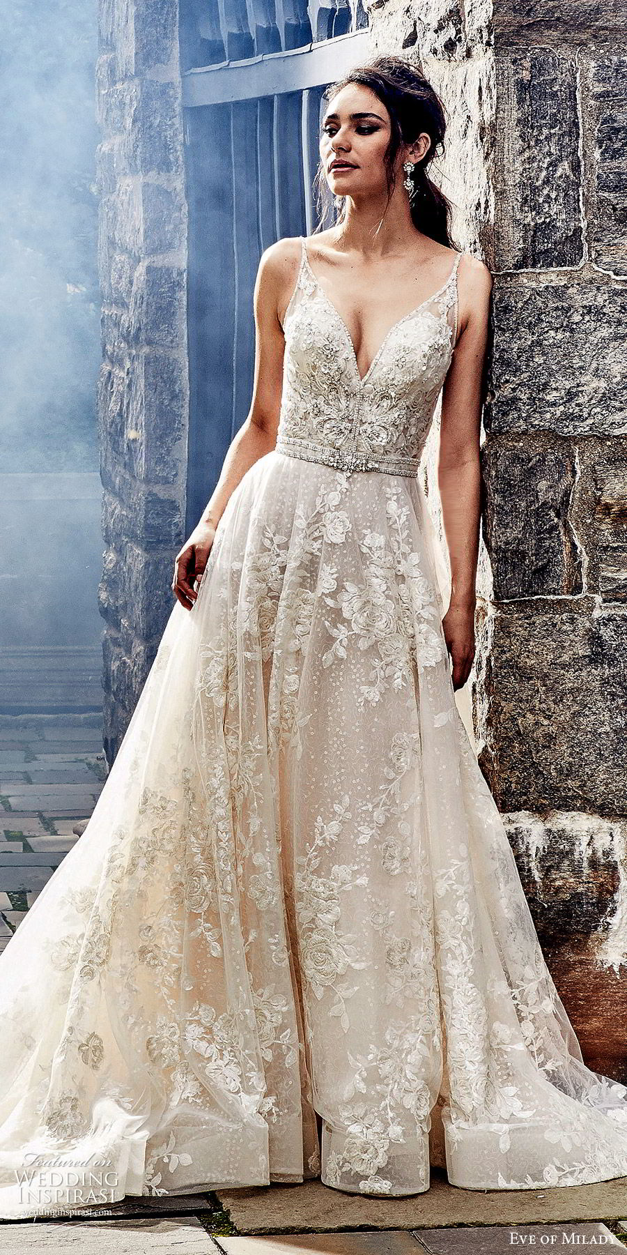 eve of milady fall 2018 bridal sleeveless thin beaded straps fully embellished a line ball gown wedding dress romantic glitzy chapel train (6) mv