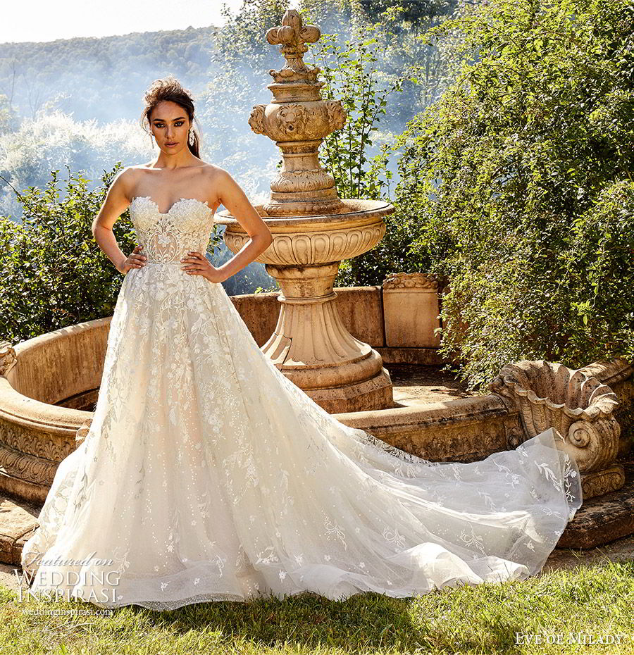 eve of milady fall 2018 bridal strapless sweetheart fully embellished a line ball gown wedding dress elegant romantic chapel train (3) mv