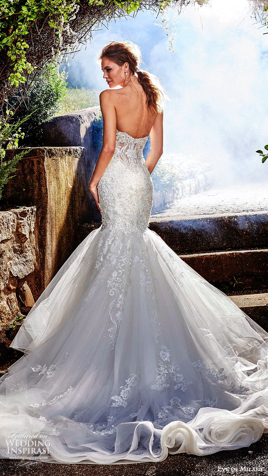 eve of milady fall 2018 bridal strapless sweetheart fully embellished mermaid lace wedding dress sheer back cathedral train elegant romantic (9) bv
