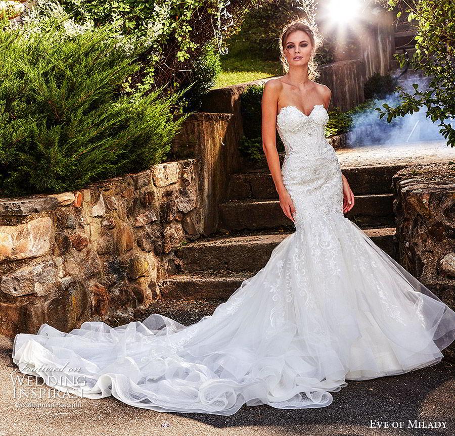 eve of milady fall 2018 bridal strapless sweetheart fully embellished mermaid lace wedding dress sheer back cathedral train elegant romantic (9) mv