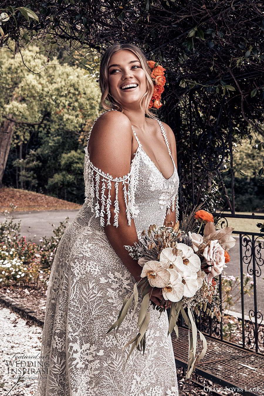 grace loves lace 2019 bridal cold shoulder straps sweetheart fully embellished lace sheath trumpet wedding dress chapel train boho romantic plus size (1) mv