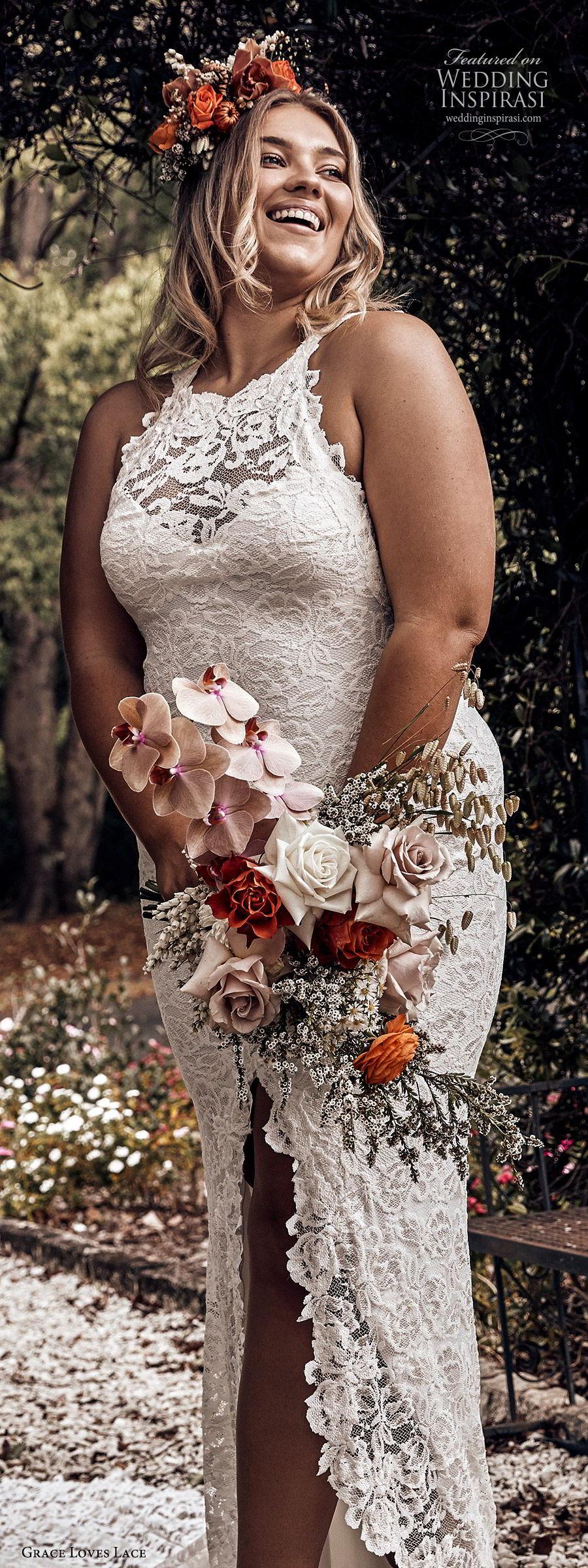 grace loves lace 2019 bridal sleeveless illusion halter neck sweetheart fully embellished lace sheath wedding dress slit skirt romantic boho chic plus size (3) lv