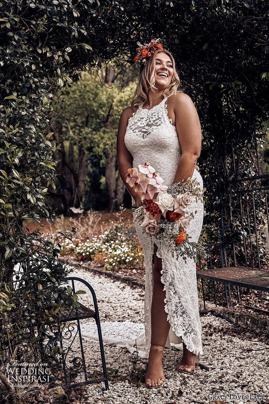 grace loves lace 2019 bridal sleeveless illusion halter neck sweetheart fully embellished lace sheath wedding dress slit skirt romantic boho chic plus size (3) mv