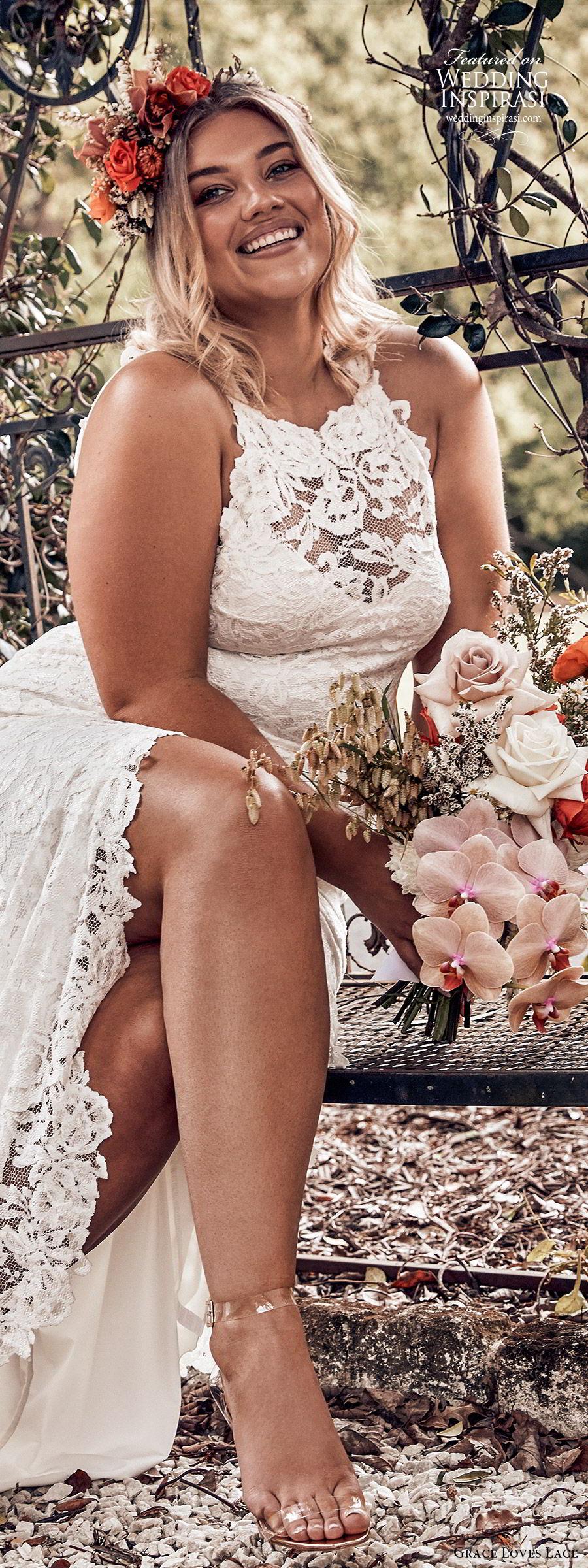 grace loves lace 2019 bridal sleeveless illusion halter neck sweetheart fully embellished lace sheath wedding dress slit skirt romantic boho chic plus size (3) zv