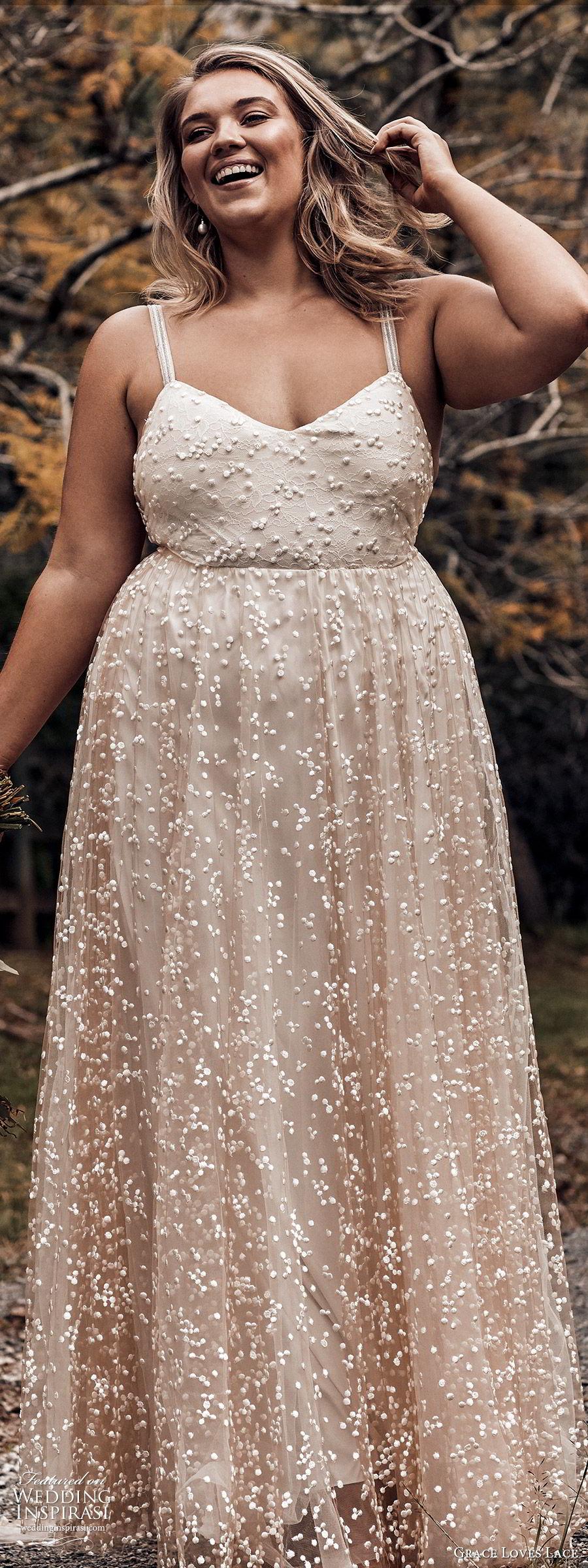 grace loves lace 2019 bridal sleeveless straps sweetheart neckline fully embellished a line ball gown wedding dress romantic elegant plus size blush (5) zv
