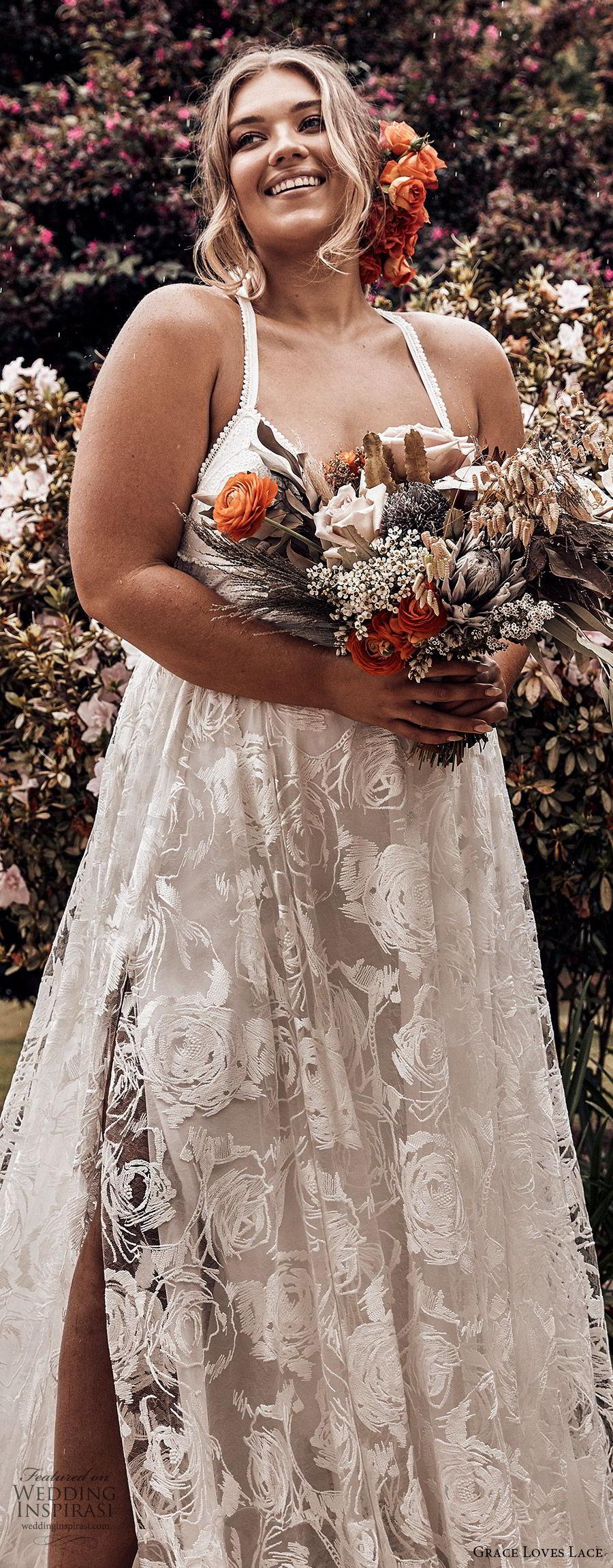 grace loves lace 2019 bridal sleeveless straps sweetheart neckline fully embellished lace a line ball gown wedding dress plus size slit skirt chapel train elegant romantic (2) lv