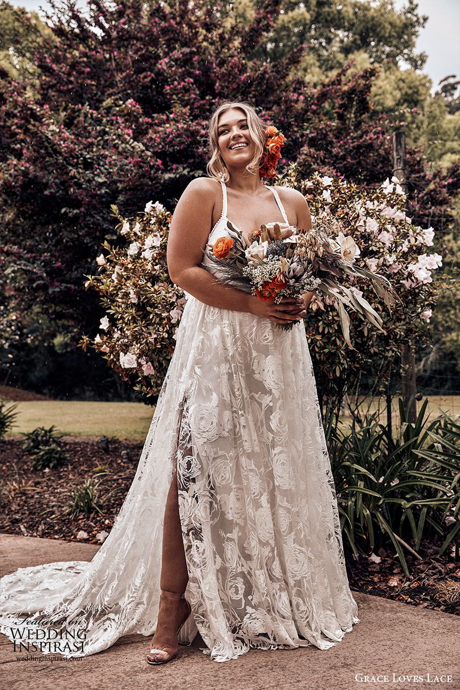 grace loves lace 2019 bridal sleeveless straps sweetheart neckline fully embellished lace a line ball gown wedding dress slit skirt chapel train plus size elegant romantic (2) mv