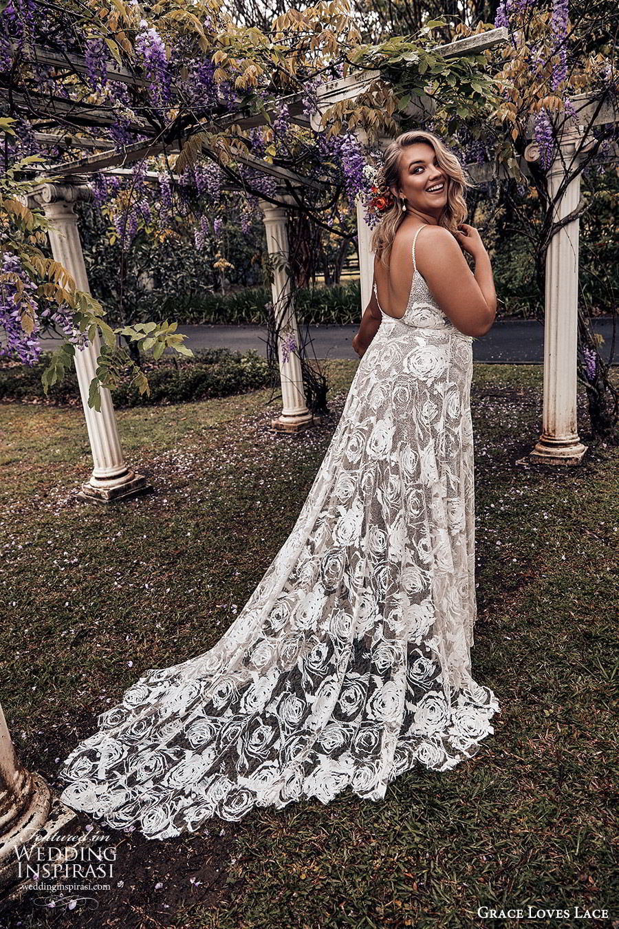 grace loves lace 2019 bridal sleeveless thin straps sweetheart necklines embellished lace soft a line trumpet wedding dress chapel train scoop back plus size bhoho romantic (6) bv