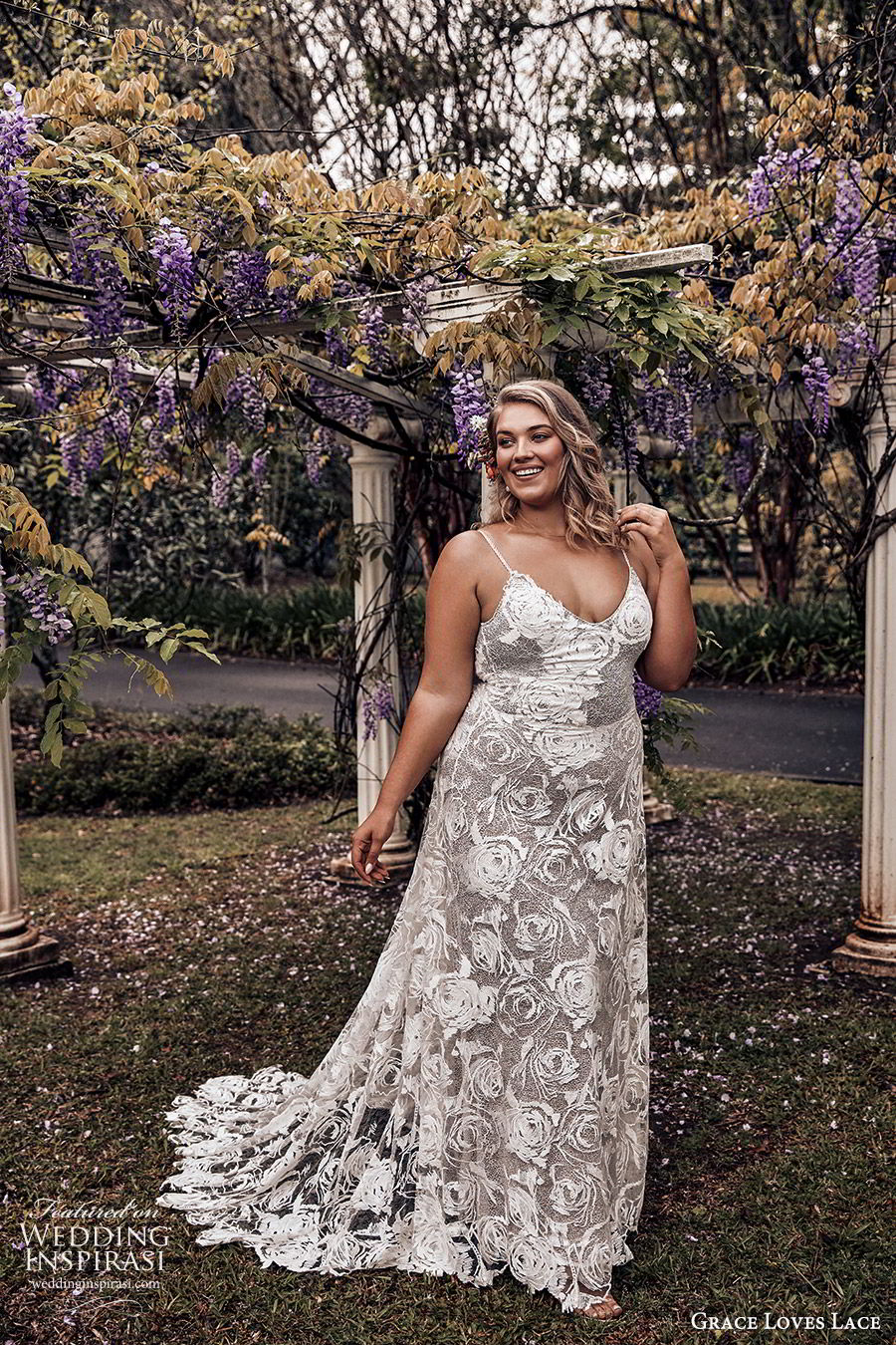 grace loves lace 2019 bridal sleeveless thin straps sweetheart necklines embellished lace soft a line trumpet wedding dress chapel train scoop back plus size bhoho romantic (6) mv