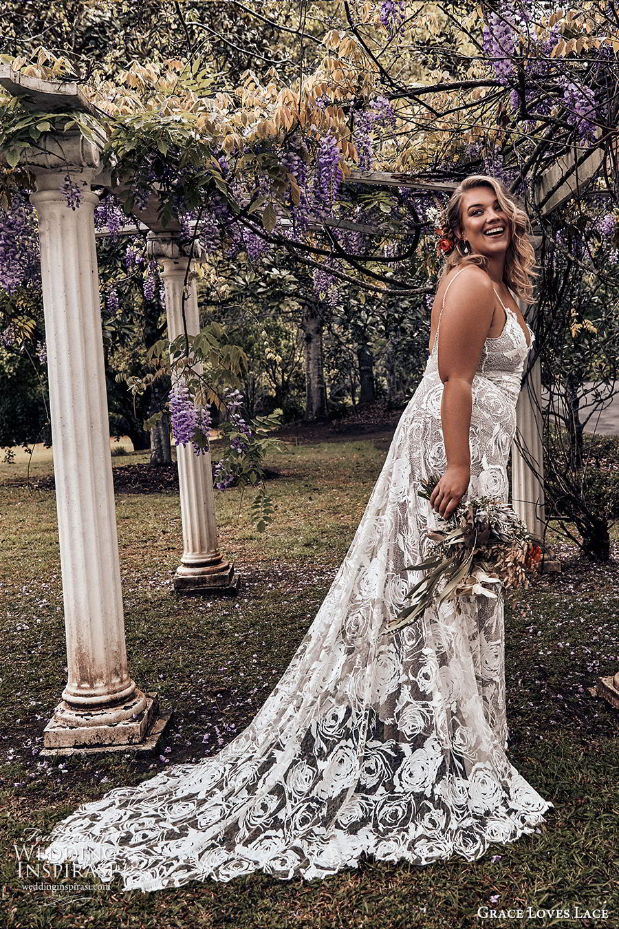 grace loves lace 2019 bridal sleeveless thin straps sweetheart necklines embellished lace soft a line trumpet wedding dress chapel train scoop back plus size bhoho romantic (6) sv
