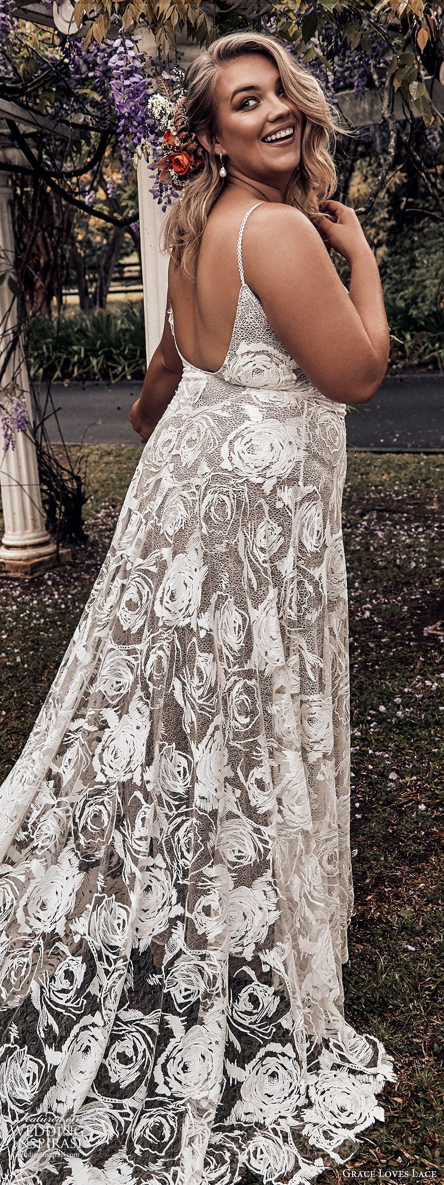 grace loves lace 2019 bridal sleeveless thin straps sweetheart necklines embellished lace soft a line trumpet wedding dress chapel train scoop back plus size bhoho romantic (6) zbv