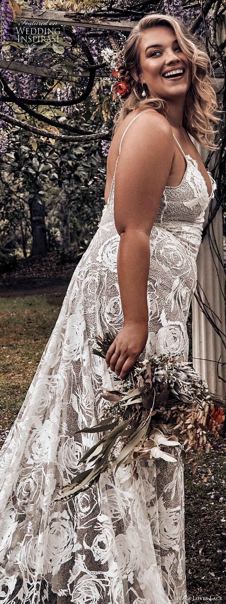 grace loves lace 2019 bridal sleeveless thin straps sweetheart necklines embellished lace soft a line trumpet wedding dress chapel train scoop back plus size bhoho romantic (6) zsv