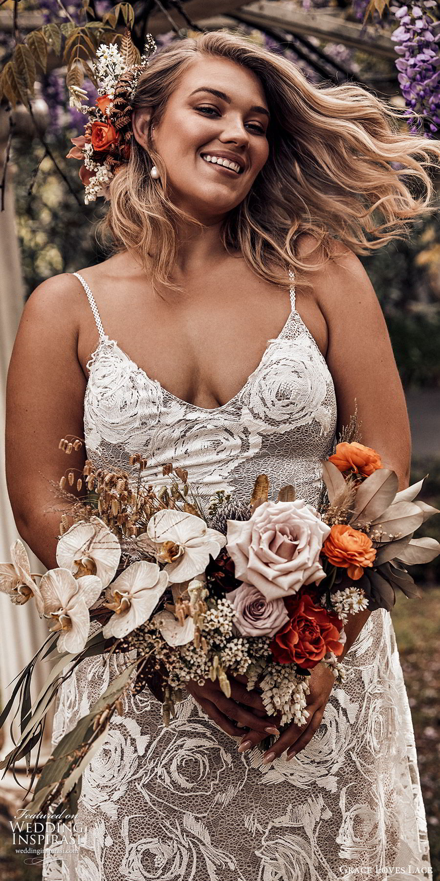 grace loves lace 2019 bridal sleeveless thin straps sweetheart necklines embellished lace soft a line trumpet wedding dress chapel train scoop back plus size bhoho romantic (6) zv