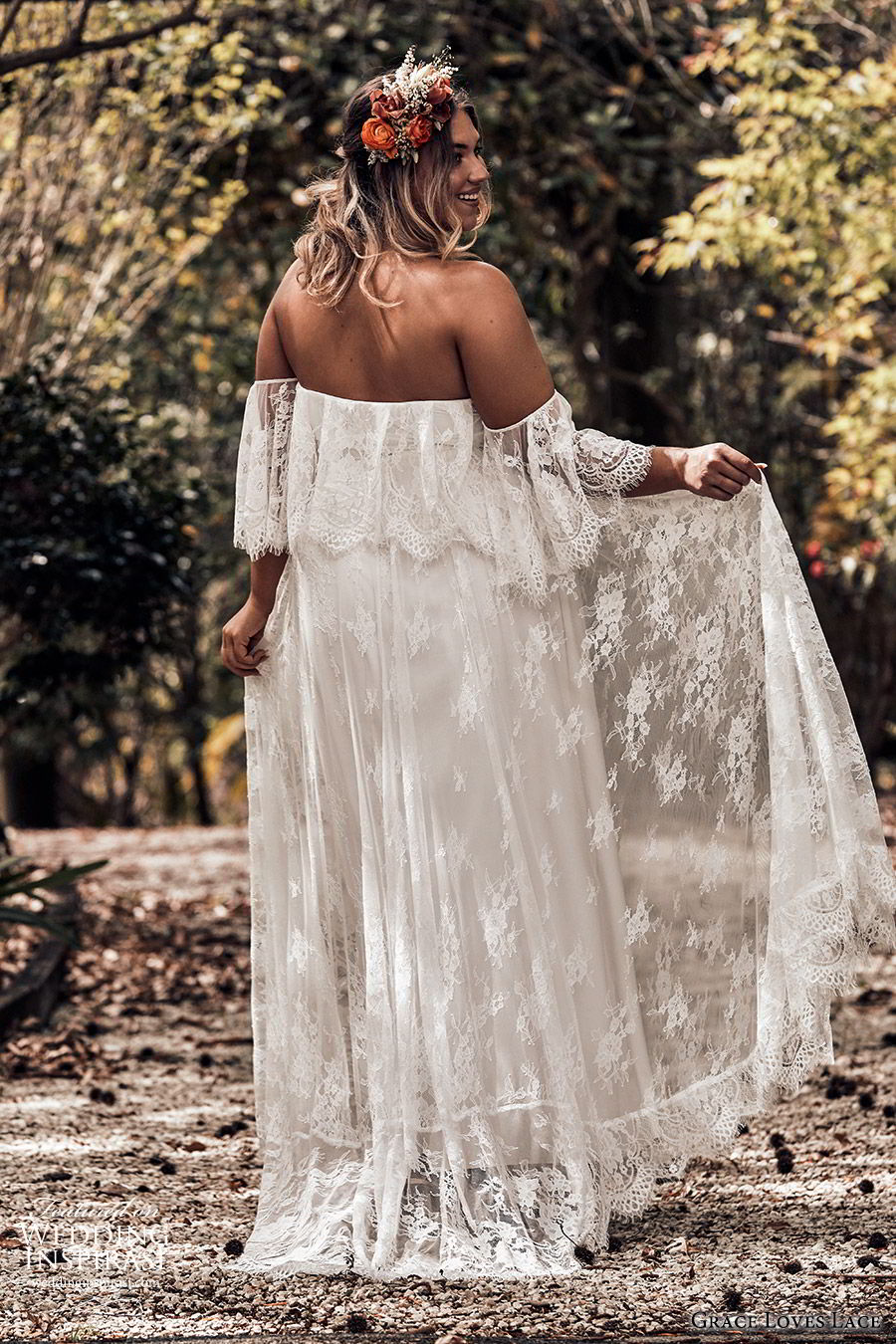 grace loves lace 2019 bridal strapless detached flutter sleeves semi sweetheart soft a line embellished lace wedding dress sweep train plus size boho romantic (4) bv
