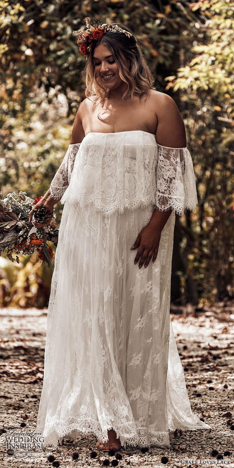 grace loves lace 2019 bridal strapless detached flutter sleeves semi sweetheart soft a line embellished lace wedding dress sweep train plus size boho romantic (4) mv