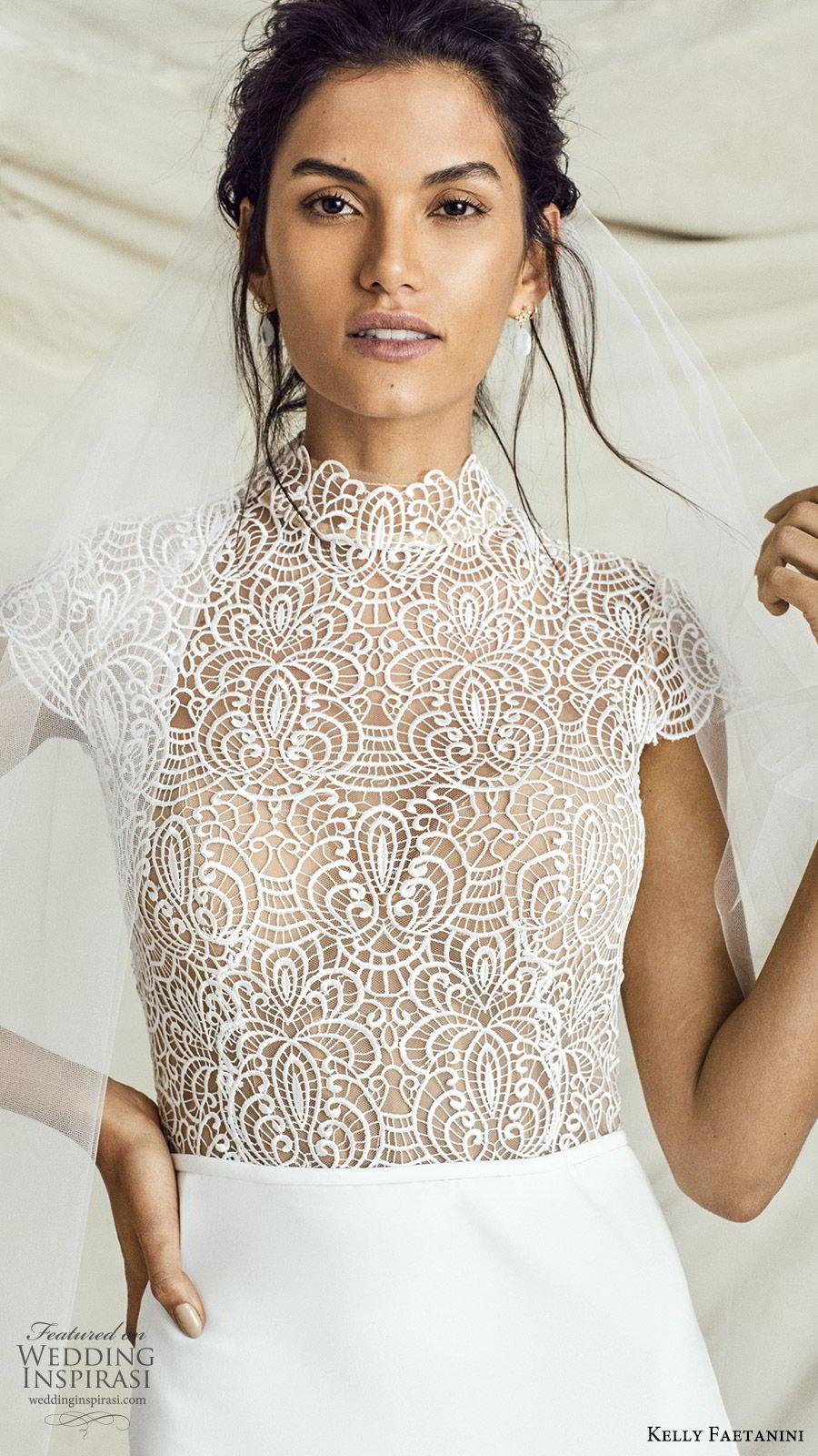 kelly faetanini fall 2019 bridal cap sleeves high neck embellished bodice mermaid trumpet wedding dress chapel train elegant modern chic (2) zv