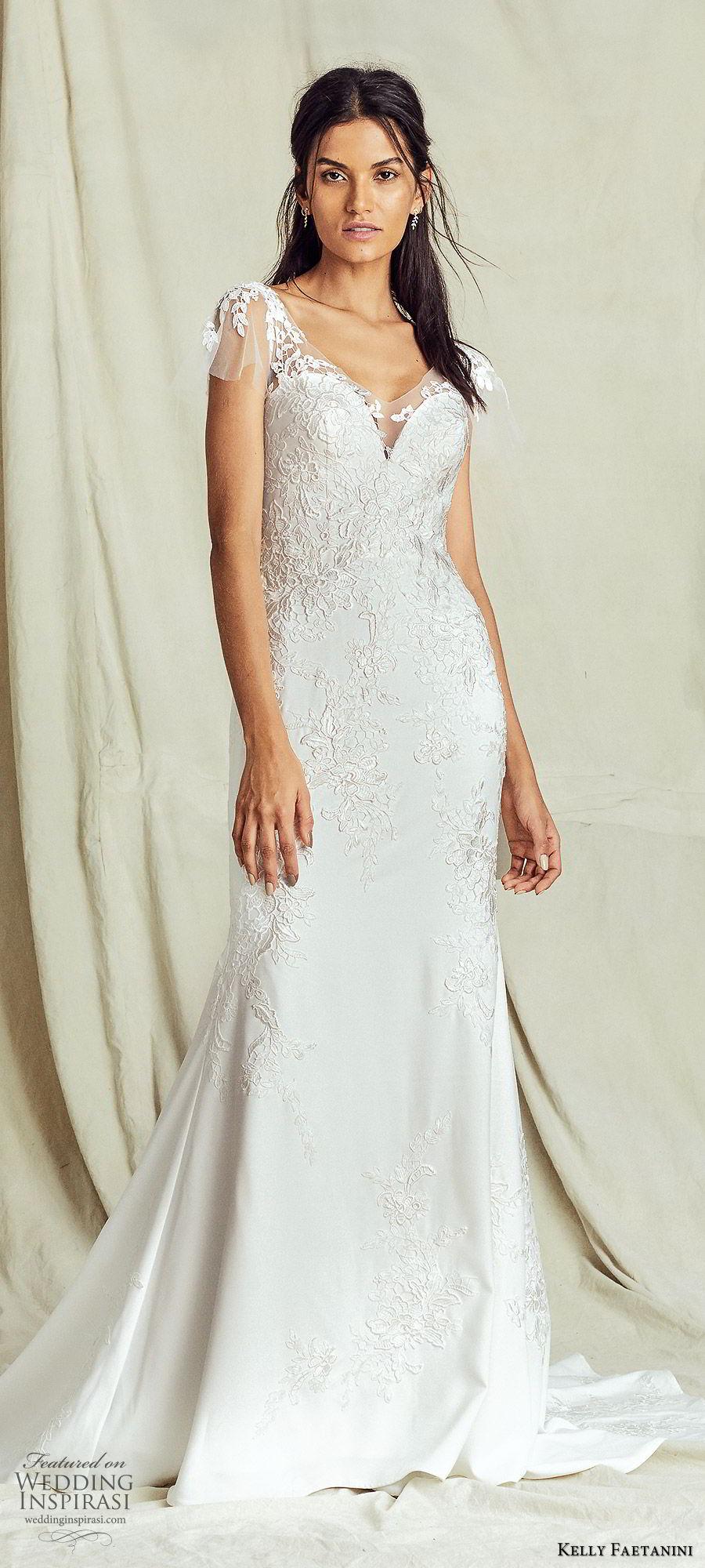 kelly faetanini fall 2019 bridal flutter sleeves sweetheart neckline fit flare trumpet mermaid lace wedding dress chapel train romantic elegant (3) mv