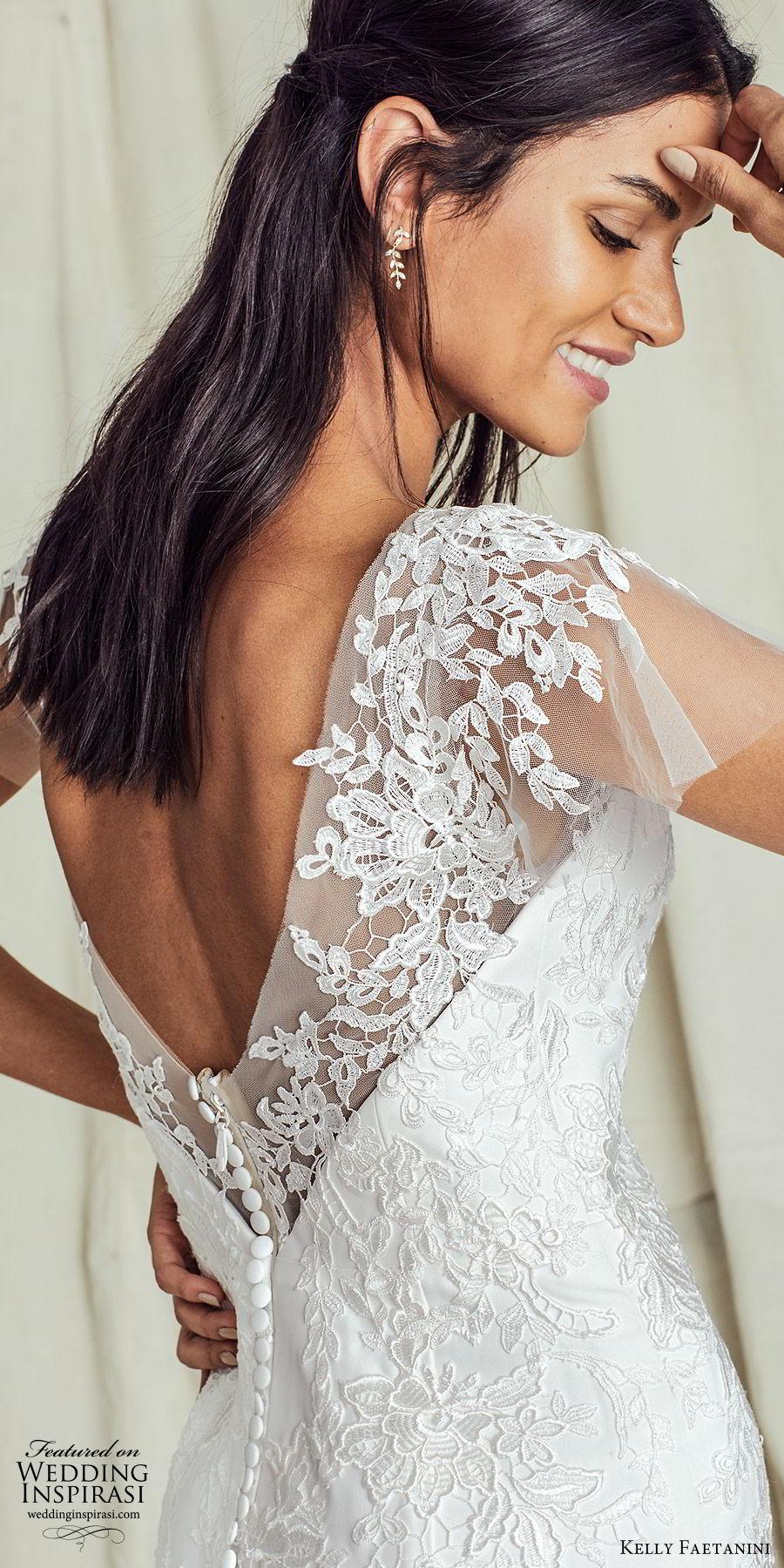 kelly faetanini fall 2019 bridal flutter sleeves sweetheart neckline fit flare trumpet mermaid lace wedding dress chapel train romantic elegant (3) zbv
